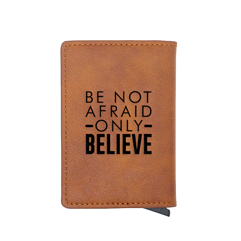 "Bible Quote ""Be Not Afraid Only Believe"" Design Card Holder Wallets Men Women Rfid Leather Short Purse Slim Mini Christ Wallet"