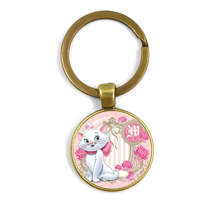 Anime Cartoon Cat Glass Cabochon Keychain The Aristocats Cute Women Jewelry Marie Cat Fashion Keyring Holder For Women Kids Gift