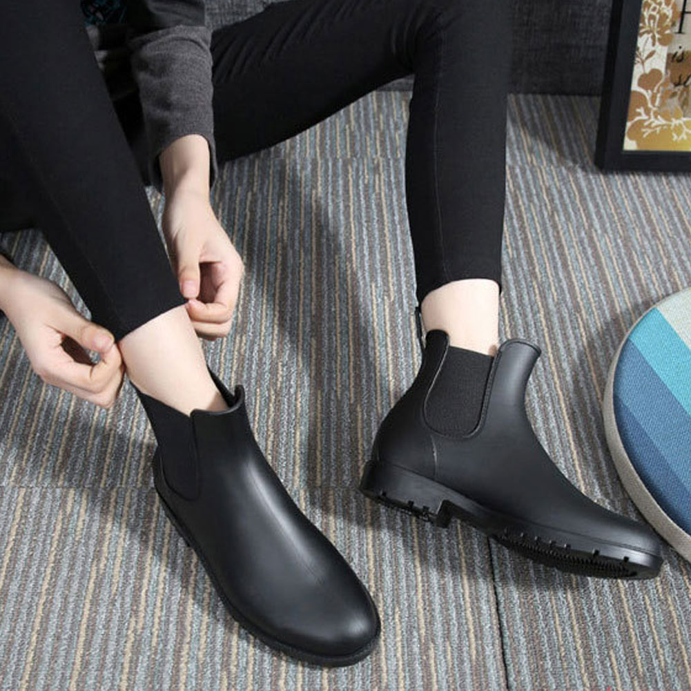 Women Rain Ankle Boots Waterproof Leather Outdoor Anti-Slip Shoes Boots K-BEST image