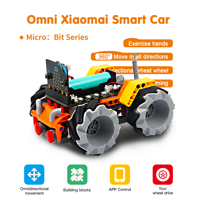 Programable Robotics Learning Kit Building Blocks Mecanum Wheel Smart Robot Car For Micro:bit Educational Stem Toys For Children