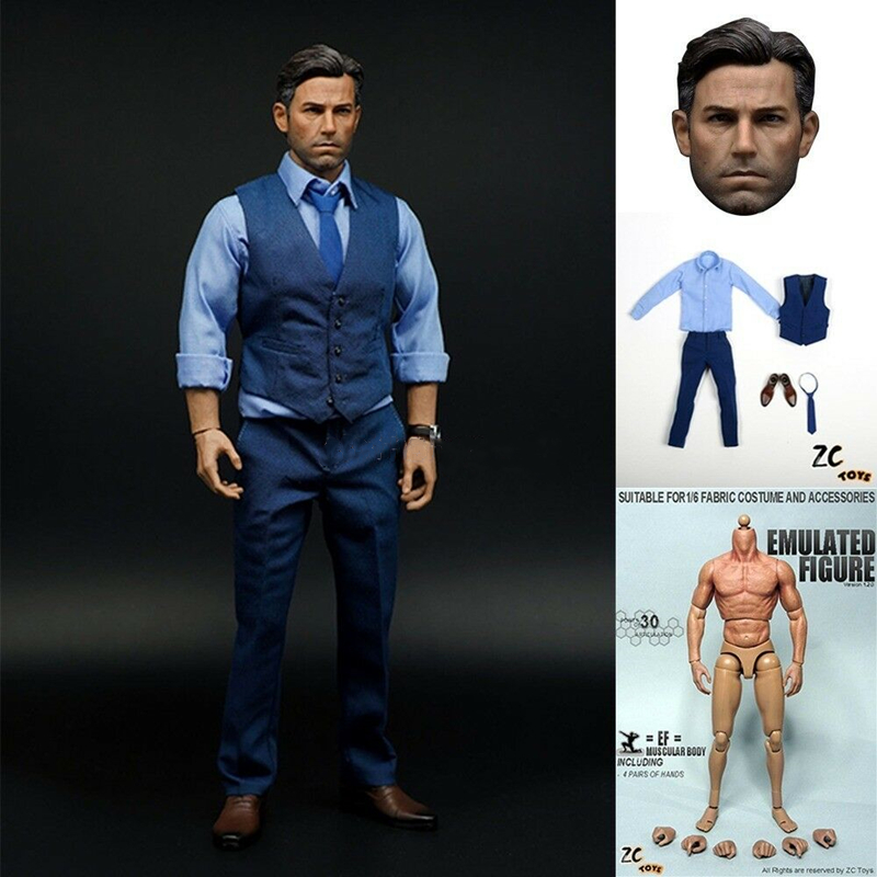 ZCtoys 1//6 Batman Ben Affleck Clothing Suit Set Muscular Figure Body Head Sculpt