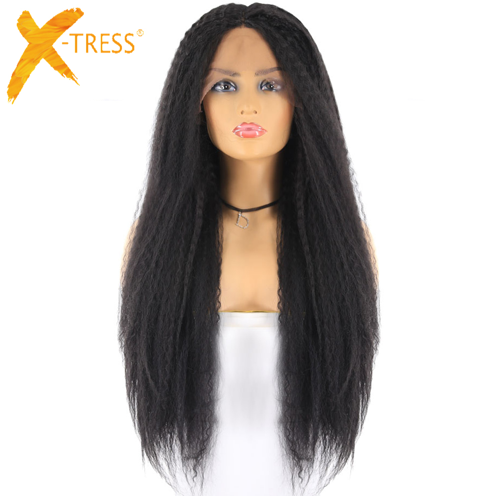 Natural Black Color Synthetic Hair Lace Front Wigs African American Hairstyle X-TRESS Long Kinky Straight Lace Wig Middle Part