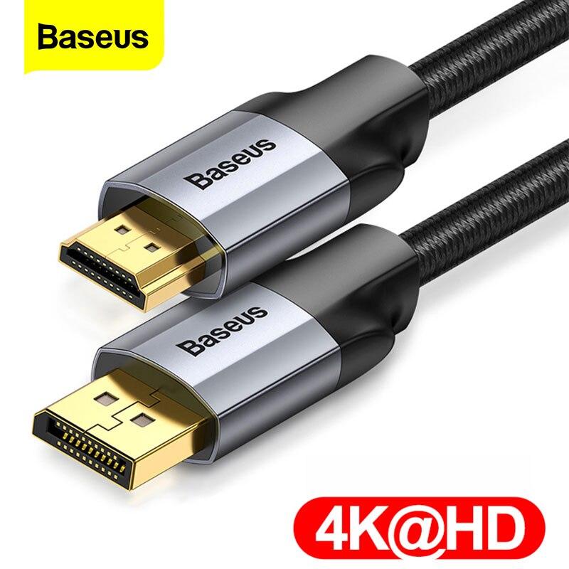 Кабель Baseus DP в HDMI-совместимый с 4K штекер-штекер порт дисплея Порт дисплея в HD кабель-адаптер для проектора ТВ конвертер шнур