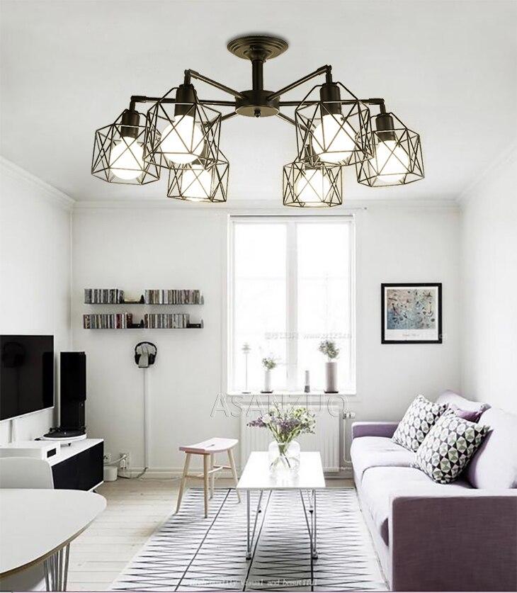 Heafcc0e21b11457ebd9f8134e3b292b4X Modern Black Chandelier Lighting American Iron Cage Ceiling Lamp Light Fixtures Kitchen luminiare Bedroom Living Room Home Light