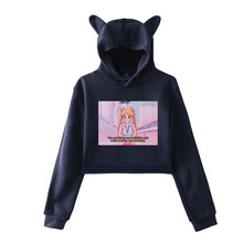 Unissex manga comprida hoodies curtos sailor moon estética kawaii sweatshirts outono engraçado com capuz pulôver das mulheres dos homens hip hop roupas(China)