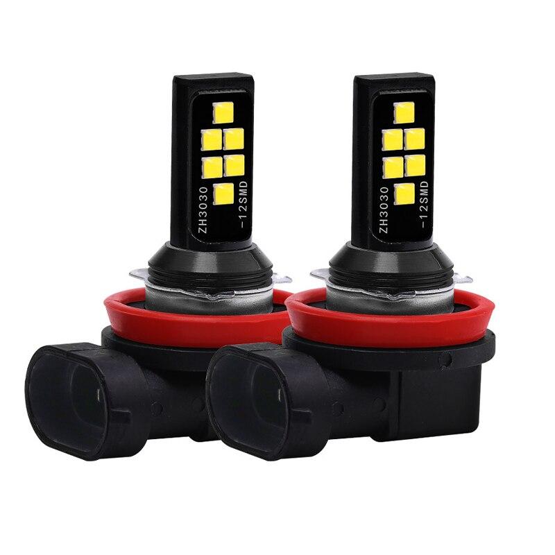 2PCs  H11 H8 H4 H1 H3 H7 9005 9006 3030 12SMD Chips Fog Light Car Driving Bulb Auto LED Canbus Lamp DRL Car Driving Running 12V