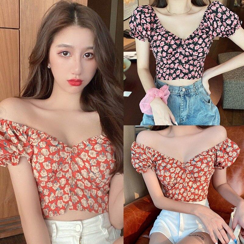 Women Fashion Summer Blouses Short Tops Tees Small Floral Print V-Neck Shirts Sexy Sweet Short Sleeve Chiffon Shirt Hot Sale 4