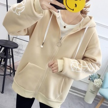 Autumn and winter new Hooded loose coat women's long sleeve casual sportswear bts