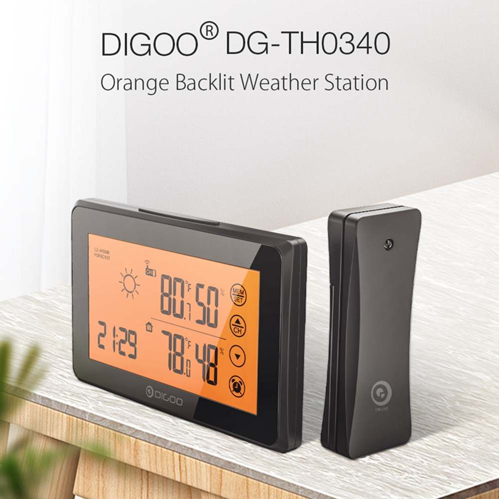 DIGOO Smart Home Touching LCD Weather Station With Remote Sensor Alarm Clock 12/24h Wether Forecast Temperature Humidity Alarm