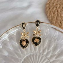 French Baroque Temperament Retro Court Style Long Earrings  bohemian women bowknot earrings