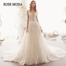 Gül Moda Illusion derin V boyun dantel düğün elbisesi V geri Boho düğün elbisesi es tren özel yapmak