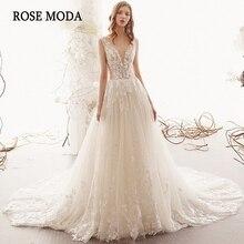 עלה Moda אשליה עמוק V צוואר תחרה חתונה שמלת V חזור Boho שמלות כלה עם רכבת אישית לעשות