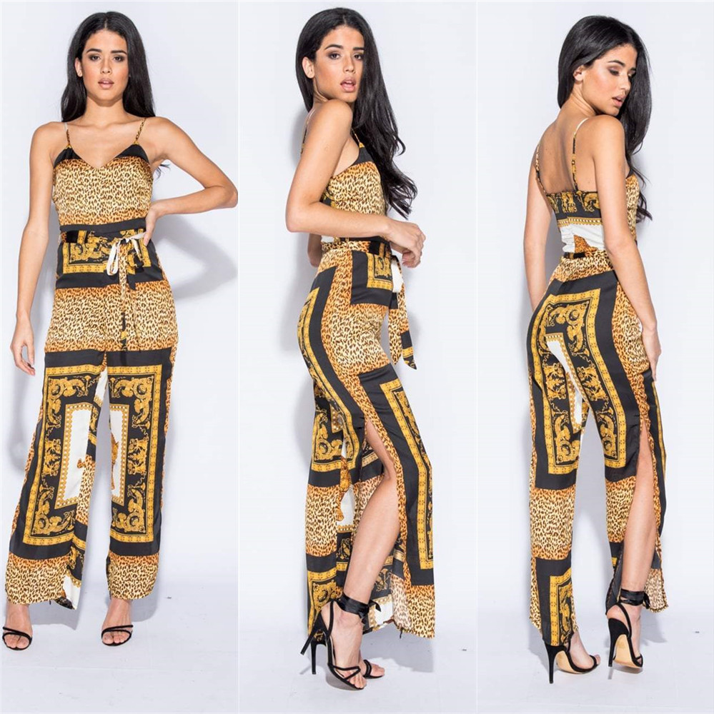2019 NEW design trendy spliced spaghetti strap wide leg club   jumpsuit   women