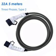 Зарядка 2 ампера 32a трехфазный кабель EV Тип 2-Тип 2 для электромобиля 62196 5 м EVSE комплект электромобиль зарядная станция