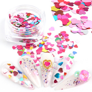 Mixed Heart Nail Glitter Sequins Red Pink Holographic 3D Flakes Paillette Slices Manicure Sticker Nail Art Decorations TRAX01-18