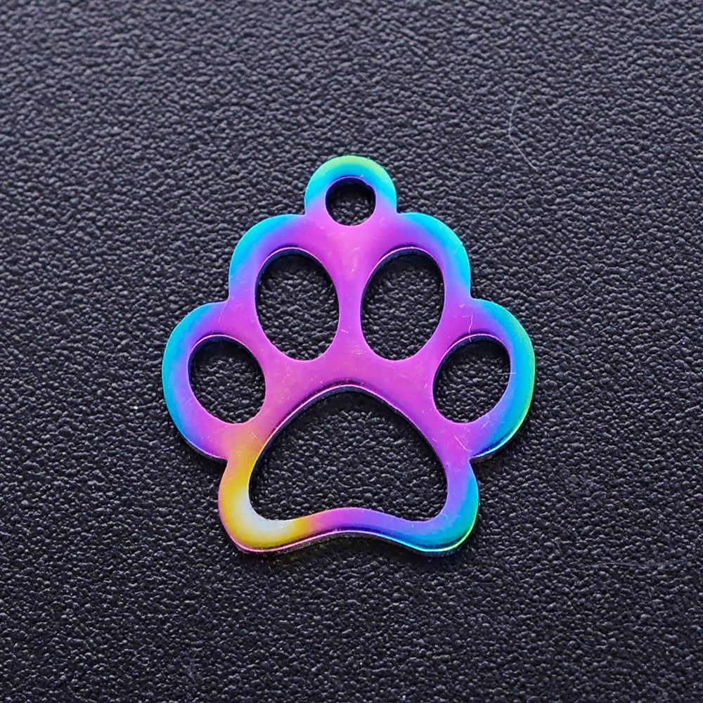 5 Stks/partij 100% Rvs Hond Poot Liefde Kat Print Diy Charms Met Rainbow Plated Groothandel Charm Voor Ketting