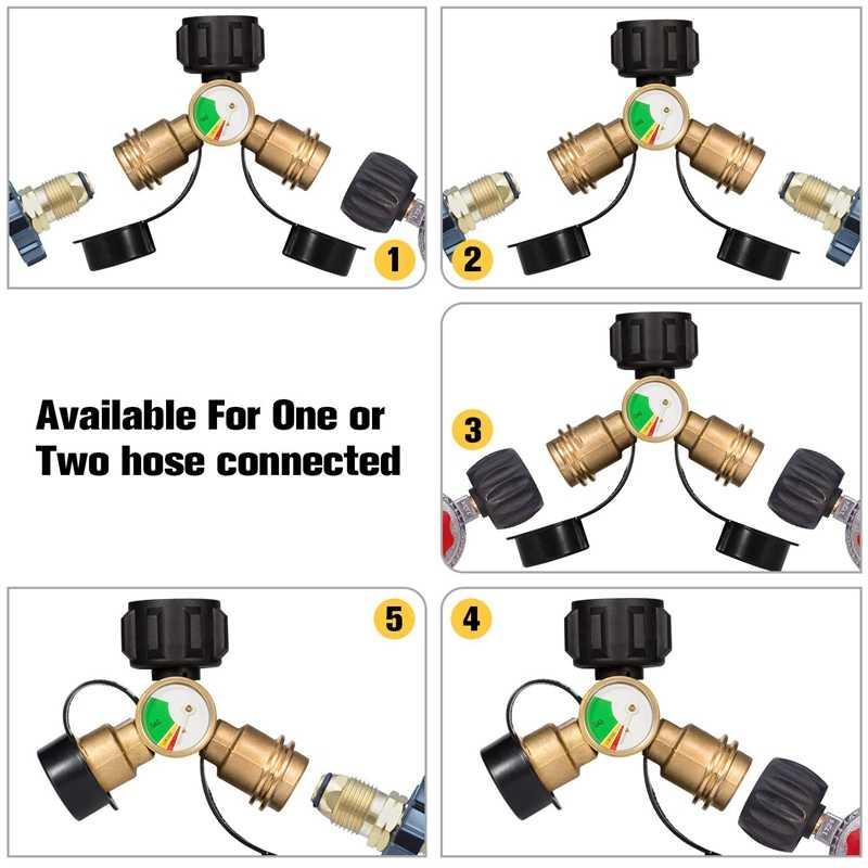 موزع البروبان ، 2-Way خزان غاز بروبان Y موزع محول مع مقياس ، محول الغاز اسطوانة البروبان ، موقد غاز شواء ، التخييم S