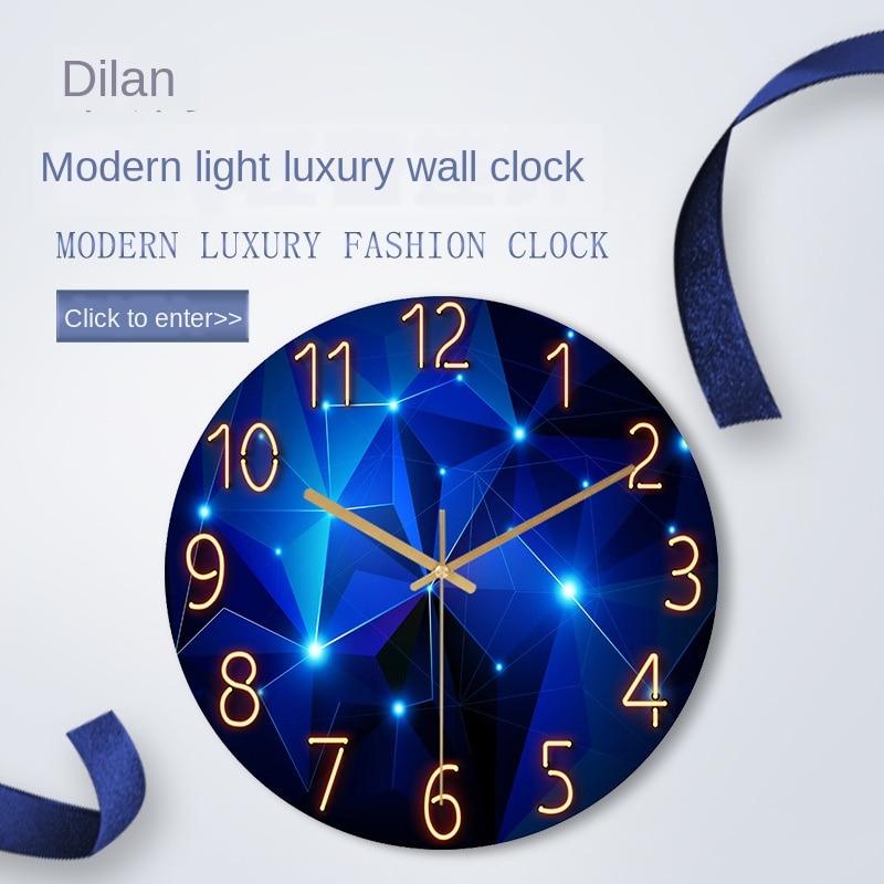 Glass Living Room Wall Clock Quartz Clock Pocket Watch Modern Minimalist Mute Clock