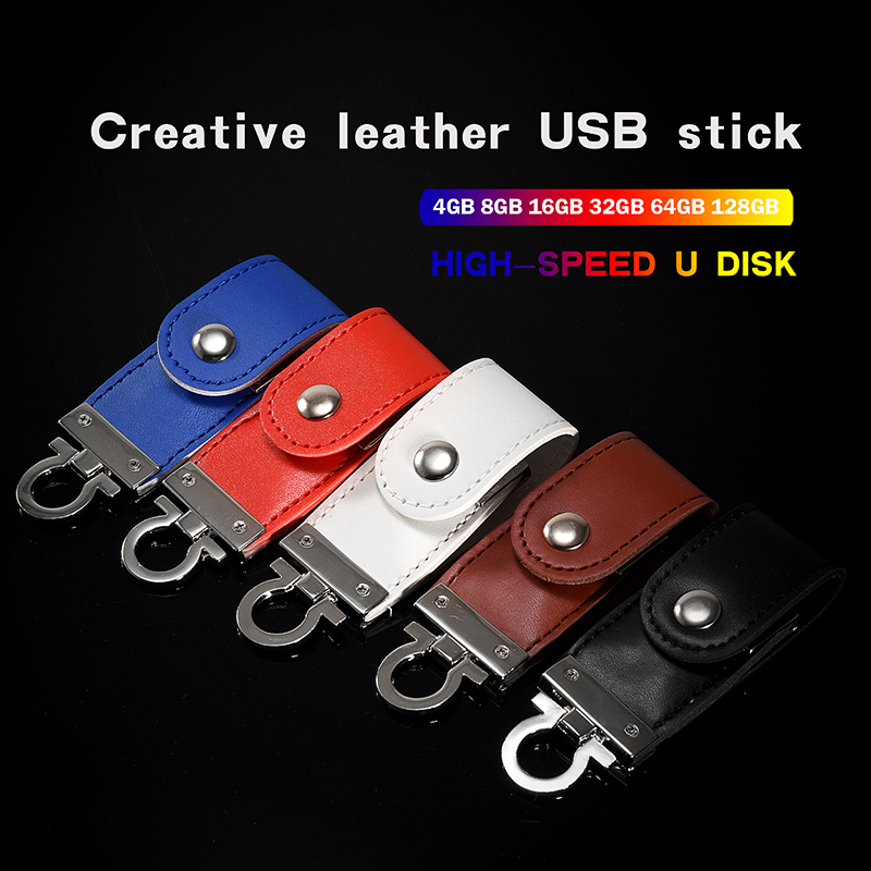 JASTER Customizable Logo Metal Leather USB3.0 Flash Drive 4GB 8GB 16GB 32GB 64GB Business Key USB2.0 Interface Memory Stick Gift