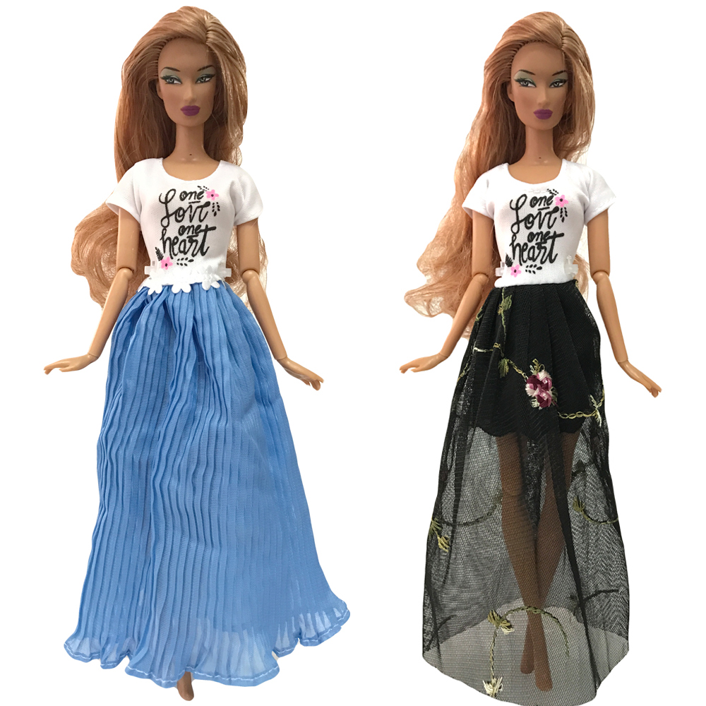 NK 2020 Newest Two-Pcs  Doll Casual Fashion Dress  Noble  Beautiful Suit For Barbie Doll Accessories Best  Girl Gift  011B 2X