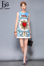 Baogarret New 2018 Fashion Runway Summer Dress Womens Sleeveless Casual Flower Appliques Crystal Beading Elegant