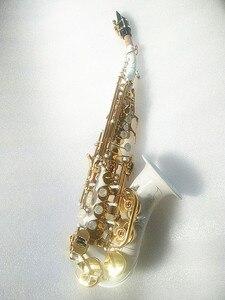Image 3 - Yeni yüksek kaliteli soprano saksafon Beyaz saksafon Kavisli soprano saksafon Komple parçaları