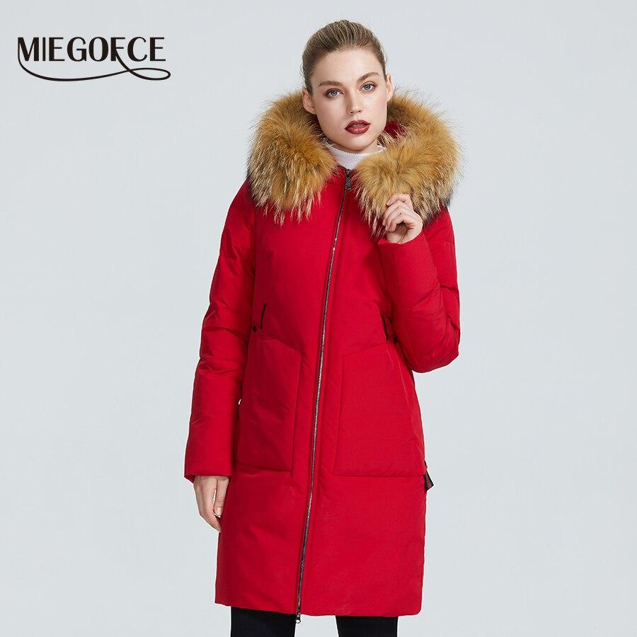 MIEGOFCE 2019 nouvelle Collection d'hiver veste femmes Parka d'hiver avec une capuche en fourrure Patch poche femmes manteau différentes couleurs inhabituelles