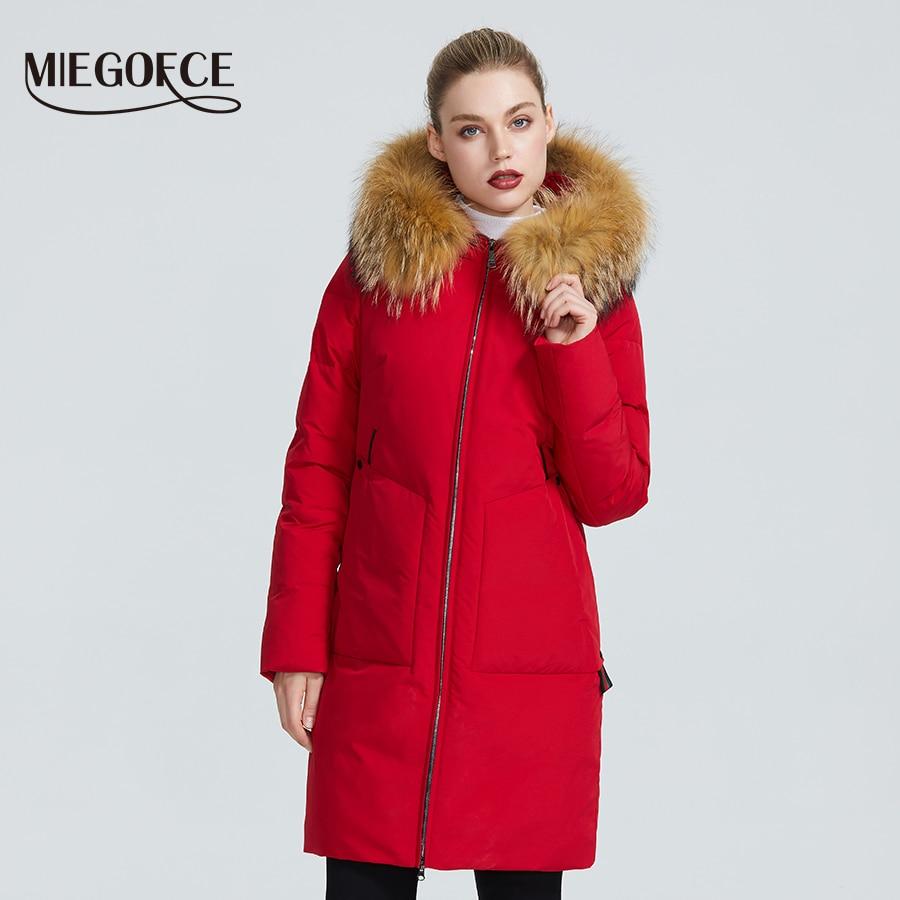 Kadın Giyim'ten Parkalar'de MIEGOFCE 2019 yeni kış koleksiyonu ceket kadın kış Parka ile kürk Hood yama cep kadın ceket farklı sıradışı renk'da  Grup 1