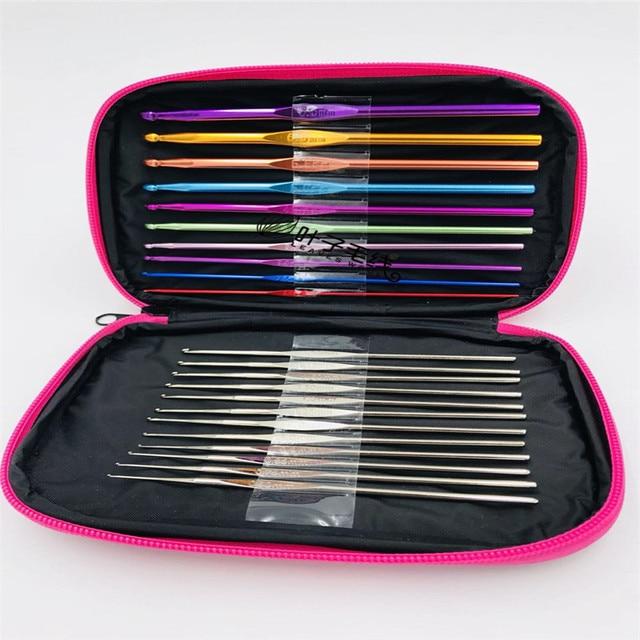 Nouveau produit en aluminium Crochet bricolage ensemble doutils à tricoter 22 aiguilles et boîte de rangement Machine à coudre à la main