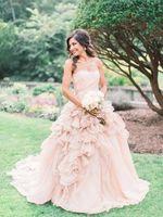 2020 Pink Ball Gown Wedding Dresses for Bride Long Strapless Puffy Bridal Wedding Dress vestido de noiva