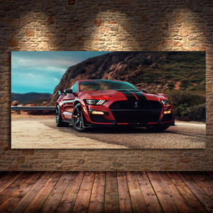 Modern Wall Art Oil Canvas Paintings Supercar Fords Mustang Shelby GT500 Red Car Picture Living Room Decor Posters and Prints
