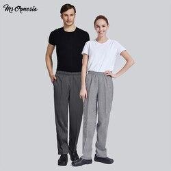 2020 novo hotel cozinheiro garçom calças cookchef roupas de trabalho restaurante chef calças elásticas roupas de trabalho dos homens calças zebra uniforme