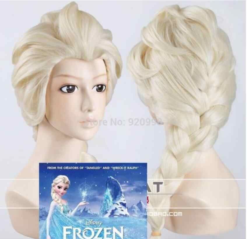Gratis Verzending Princess Snow Queen Elsa Weaving Braid Licht Blond Cosplay Pruik