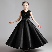 Children Girls Luxury Black Color Sequined Design Host Piano Costumes Long Dress Kids Teens Fashion Evening Party Dress Clothes