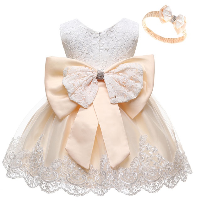 Baby Dress Sequin Lace Flower Christening Gown Baptism Clothes Newborn Kids Girls Birthday Princess Infant Party Costume