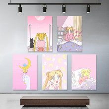 Canvas Painting Animation Role Home Decor Sailor Moon Picture Modern Printed Pink Theme Modular Poster For Living Room Wall Art