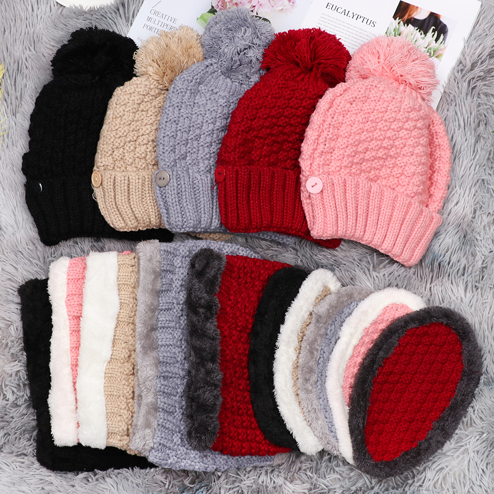 3pcs/Set New Fashion Sweet Women Men Winter Warm Beanie Hat Scarf Mask Knitted Snow Ski Cap Cold Protection Neck Warmer