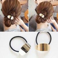 T102 Punk métal mode femmes cheveux accessoires alliage mignon noir queue de cheval bandes élastiques fille bandeau corde gomme élastique nouveau
