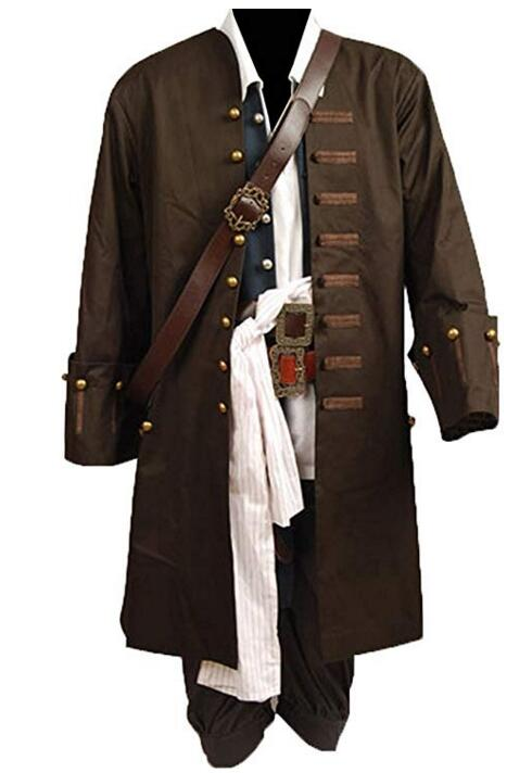 Pirates Of The Caribbean Jack Sparrow Jacket Cosplay Costume Set Cosplay Costume For Men