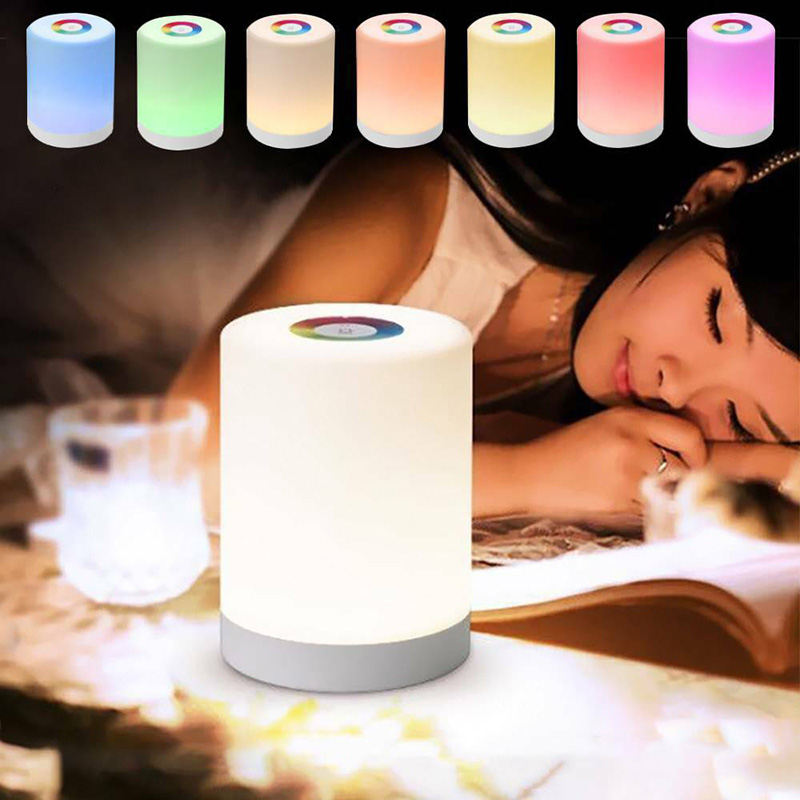 LED Touch Control Night Light Induction Dimmer Lamp Smart Bedside Lamp Dimmable RGB Color Change Rechargeable Smart (White)