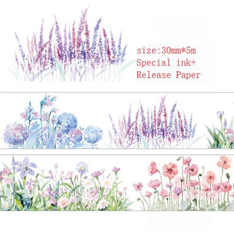 30mm The Breath Of Summer Flowers In Clusters Washi Tape DIY Scrapbooking Sticker Label Masking Tape School Office Supply Escola