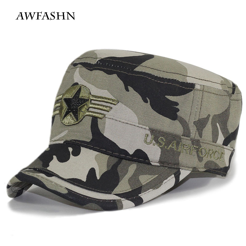 2019 New Hat Army Fan Pentagonal Military Cap Camouflage Hat Spring/autumn Men's Flat Cap Camouflage Black Bone Army Truck Drive