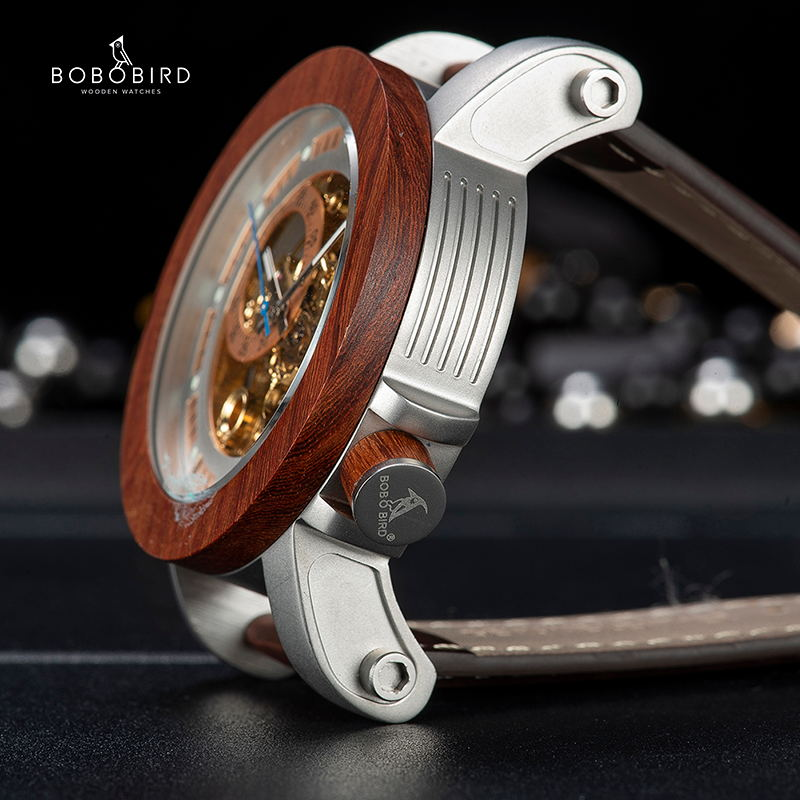 Image 2 - BOBO BIRD Brand Men Watches Red Wooden Gear Mechanical Watch Genuine Leather Strap Wristwatch relogio masculino Christmas Gift-in Mechanical Watches from Watches