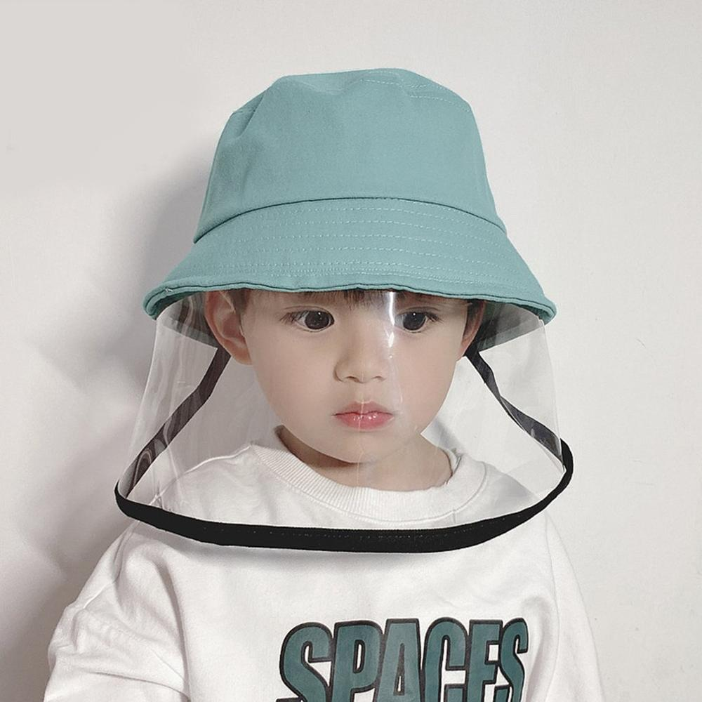 3-10 Years Old Child Cotton Protective Fisherman Hat High-transmitting PET Film Anti-fog Prevent Droplets 1 Pcs