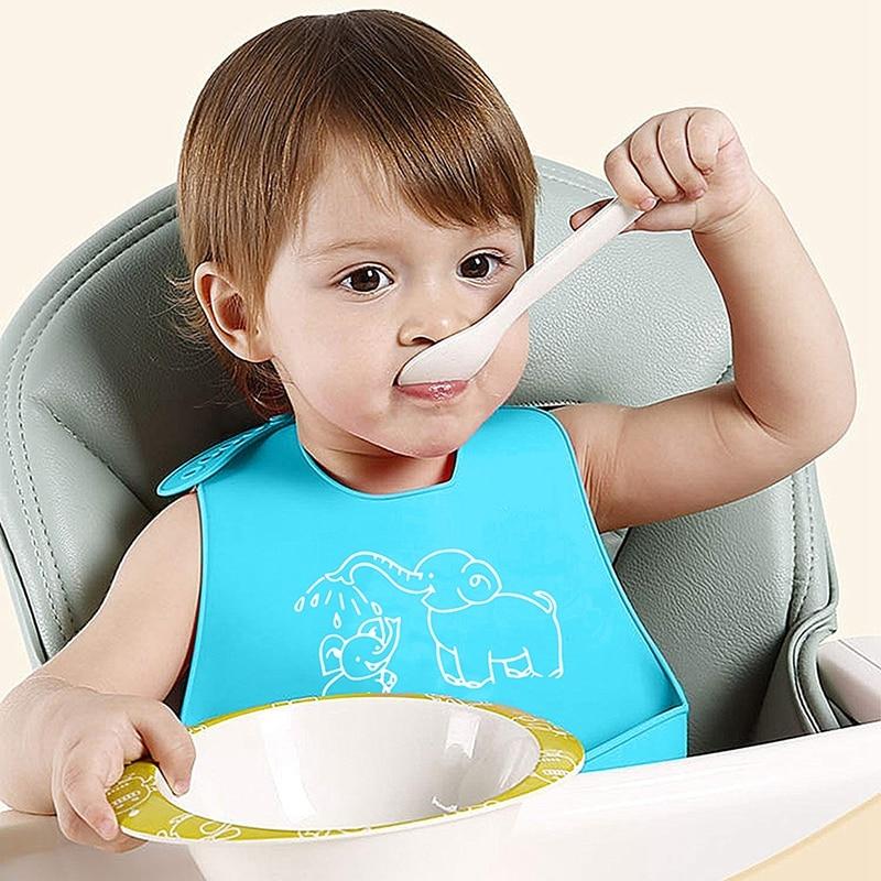 2 Pack Waterproof Silicone Bibs - Easily Wipes Clean Silicone Feeding Bibs - Comfortable Soft Waterproof Toddlers Baby Bibs Keep
