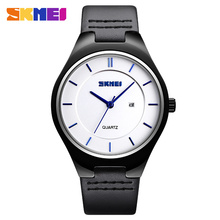 Skmei Simple Style Men Watches Casual Quartz Watch Black Leather Band Man Auto Date Wristwatch Waterproof Clock montre homme New yazole men black wristwatch simple pointer dial quartz watch waterproof fashion business couple watches montre homme yd278