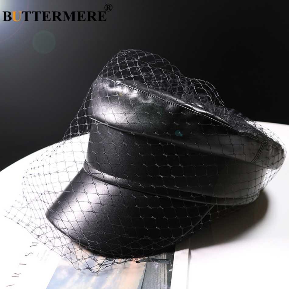 Sombrero de capitán negro de cuero militar de BUTTERMERE, sombrero de capitán con velo, Elegante, sólido, tapa de violonchelo, Ivy, femenino, Otoño, Casual, gorras de marinero