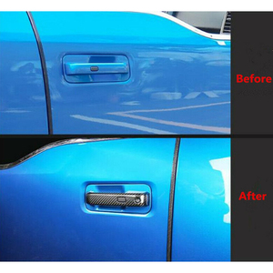 Image 5 - beler 4pcs Carbon Fiber Texture Exterior Door Handle Cover Trim w/ Thermo Sensor fit for Ford F 150 F150 2015 2018 2019 2020