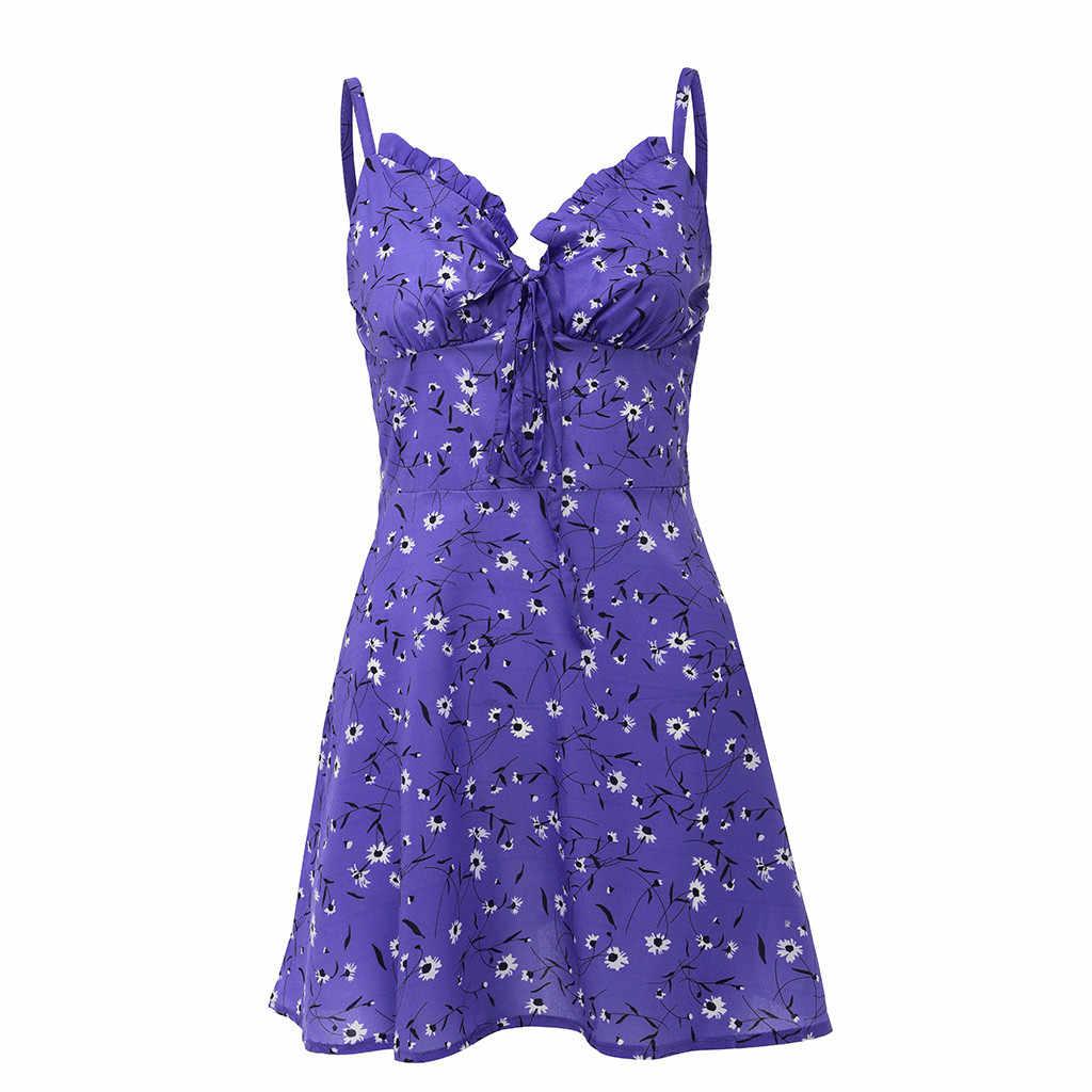 デイジー夏ドレス女性サスペンダーミニドレス 2020 ボヘミアン花柄セクシーなノースリーブの浜ネクタイパーティードレスシースサンドレス