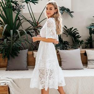 Image 4 - Simplee חלול החוצה תחרה שמלת נשים v צוואר גבוהה מותן פרע קיץ לבן שמלת גברת אביב שיק slim fit המפלגה שמלת vestidos